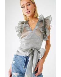 Forever 21 Sheer Metallic Wrap Top - Gray