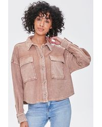Forever 21 Buttoned Oil Wash Jacket - Multicolor