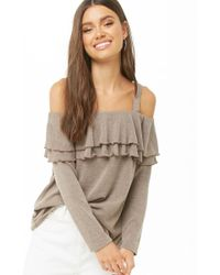Forever 21 - Knit Tiered-flounce Open-shoulder Top - Lyst