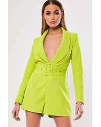 Missguided - Belted Plunging Romper At - Lyst