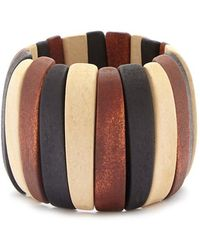 Forever 21 Women's Colorblock Wooden Bracelet - Brown
