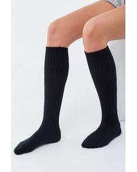 Forever 21 Brushed Cable Knit Knee-high Socks - Black