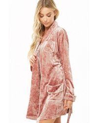 Forever 21 Crushed Velvet Robe , Pink