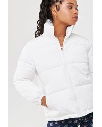 Forever 21 Zip-up Puffer Jacket , Cream - White