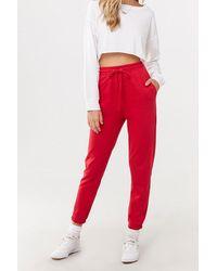 Forever 21 Fleece Drawstring Sweatpants , Red