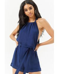 a72a488d27a2 Forever 21 - Women s Cuffed Halter Playsuit - Lyst