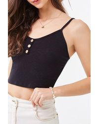 Forever 21 Ribbed Cropped Cami - Black