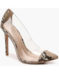 Forever 21 Mix No 6 Faux Snake Pumps - Natural