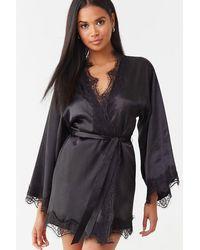 Forever 21 Lace Satin Robe - Black