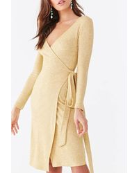 Forever 21 Ribbed Wrap Dress - Natural