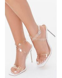 Forever 21 Clear-strap Lucite Stiletto Heels - White