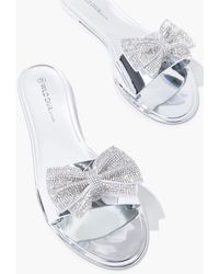 Forever 21 Rhinestone Bow Sandals In Silver, Size 6 - Metallic