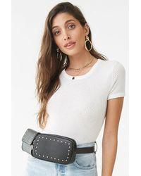 Forever 21 Studded Faux Leather Belt Bag - Black
