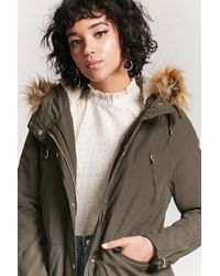Forever 21 Women's Faux Fur Parka Jacket - Green
