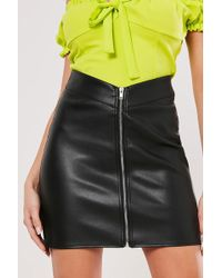 Missguided - Faux Leather Mini Skirt At , Black - Lyst