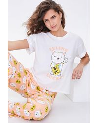 Forever 21 Lucky Cat Graphic Tee & Pants Pj Set - White