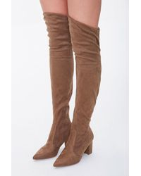 Forever 21 Faux Suede Over-the-knee Boots - Brown