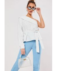 Missguided - Pinstriped One-shoulder Top At - Lyst