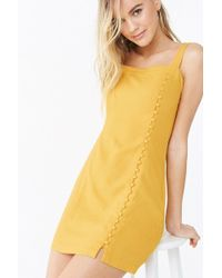 Forever 21 Vestido corto con detalles abotonados - Amarillo
