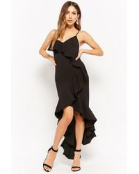 Forever 21 - Ruffle High-low Prom Dress , Black - Lyst