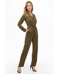 Forever 21 Tie-waist Drawstring Jumpsuit , Olive - Green