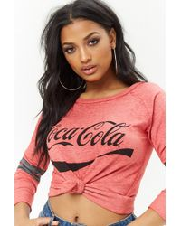 Forever 21 Coca-cola Raglan Sleeve Pullover - Red