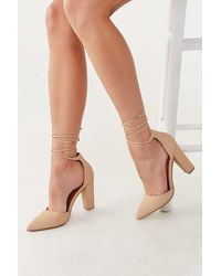 Forever 21 Faux Suede Lace-up Heels - Natural