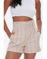 Forever 21 Belted Plaid Cuffed Shorts - Multicolor