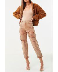Forever 21 Distressed Acid Wash Ankle Jeans , Camel - Natural