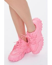 Forever 21 Faux Leather Low-top Sneakers - Pink