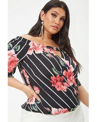 91950218c4d Forever 21 - Women s Plus Size Floral Stripe Off-the-shoulder Top - Lyst