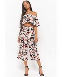 Forever 21 - Geo Print Crop Top & Culottes Set - Lyst