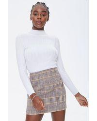 Forever 21 Plaid Mini Skirt - White