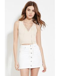 Forever 21 | Lace-up Sweater Top | Lyst