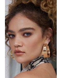 Forever 21 Flat Beaded Hoop Earrings In Gold - Metallic