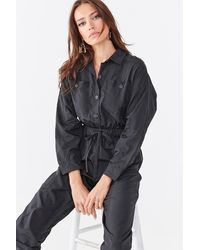 Forever 21 Button-down Drawstring Coveralls - Black