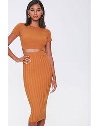 Forever 21 Ribbed Tee & Skirt Set - Orange
