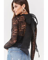 Forever 21 Sheer Floral Lace Pussycat Bow Top , Black