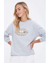Forever 21 Leopard Lips Graphic Sweatshirt - Gray