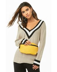 Forever 21 Purl Knit Varsity Sweater , Beige - Natural