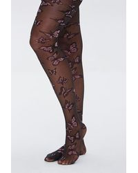 Forever 21 Sheer Butterfly Tights - Black