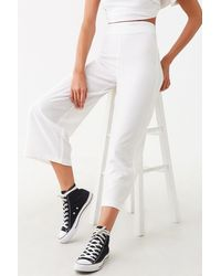 Forever 21 High-rise Wide-leg Pants , Ivory - White