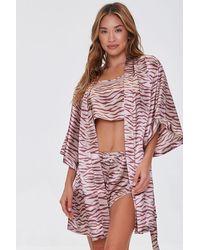 Forever 21 Satin Tiger Print Robe - Pink