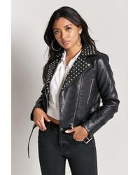 Forever 21 - Studded Faux Leather Jacket - Lyst