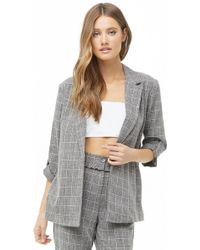 Forever 21 - Marled Grid Open-front Blazer - Lyst