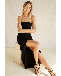 Forever 21 Strapless Smocked-bodice Maxi Dress - Black