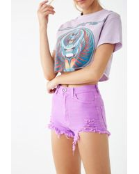 Forever 21 High-rise Frayed Shorts , Neon Purple