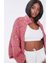 Forever 21 Quilted Zip-up Jacket - Purple