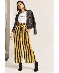 Forever 21 - Stripe Belted Paperbag Trousers - Lyst