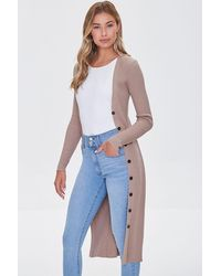 Forever 21 Ribbed Longline Cardigan Sweater - Multicolour
